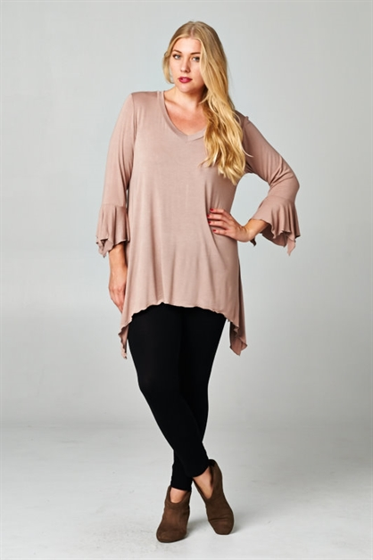 Plus Long Sleeve Top w/ Fringe - orangeshine.com