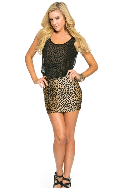ANIMAL PRINT SEE THROUGH DRESS - orangeshine.com