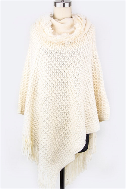 Textured Plush Hooded Poncho - orangeshine.com