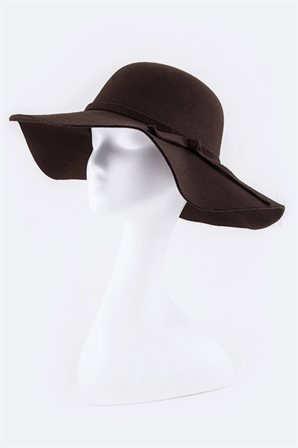 Skinny Bow Wool Floppy Hat - orangeshine.com