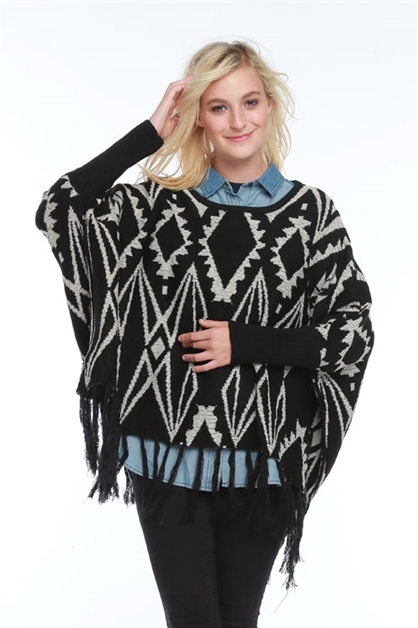 DIAMOND AZTEC PATTERN PONCHO - orangeshine.com