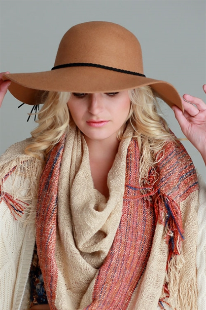 WOOL FLOPPY HAT W/SUEDE BRAIDS - orangeshine.com