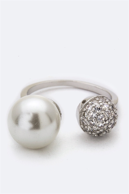 Pearl  CZ Ball Tipped Ring - orangeshine.com