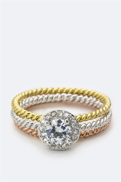 Round CZ Triple Ring - orangeshine.com
