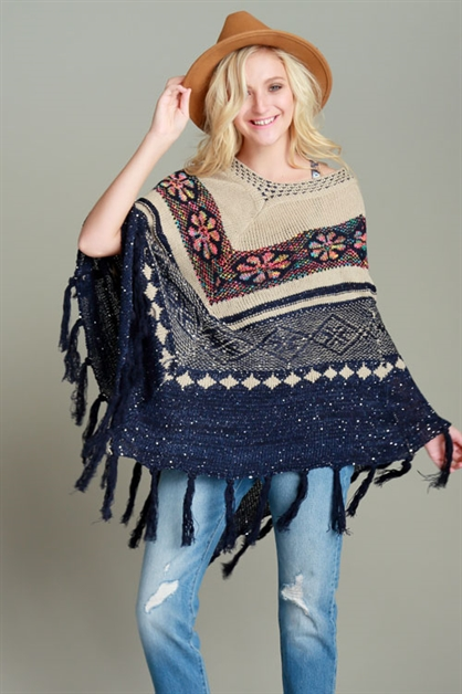 TRIBAL FRINGED HEM PONCHO - orangeshine.com