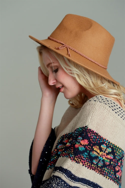 WOOL FELT FEDORA W/SUEDE BRAID - orangeshine.com