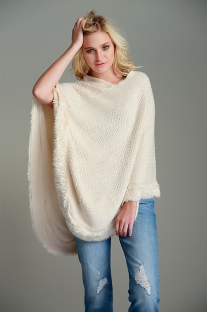 SWEATER PONCHO W/ FURRY FRINGE - orangeshine.com