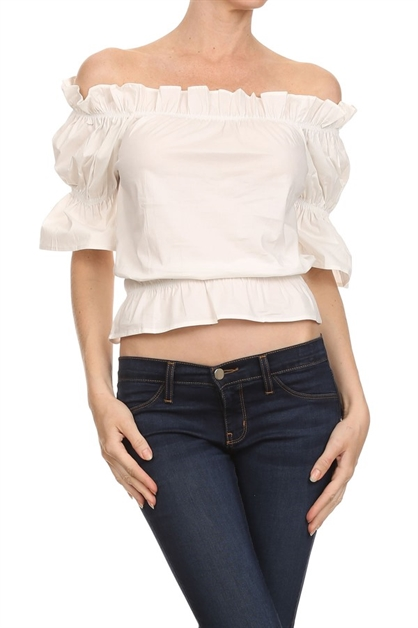 Ruffled off the shoulder top w - orangeshine.com