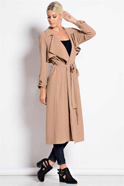 Crepe Trench Coat - orangeshine.com