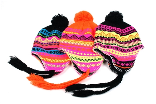 Peruvian Knit Trapper Hat - orangeshine.com
