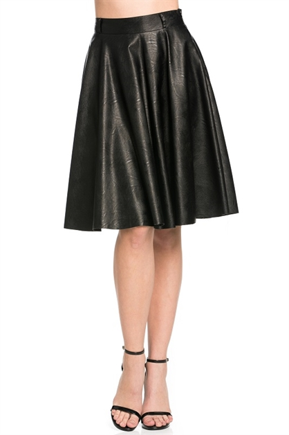 PU SKIRT WITH SIZE ZIPPER - orangeshine.com