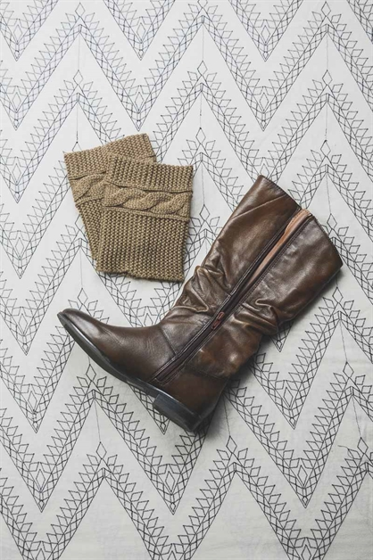 Cable Ribbed Knit Boot Cuffs - orangeshine.com