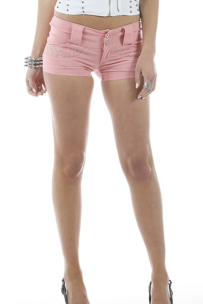RHINESTONE BUTTON UP SHORTS - orangeshine.com