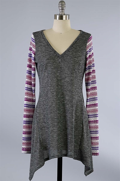 KNIT TOP W/ COLORFUL SLEEVE - orangeshine.com