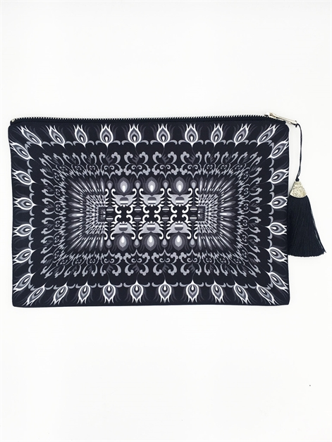 Black Multiprint Clutch - orangeshine.com