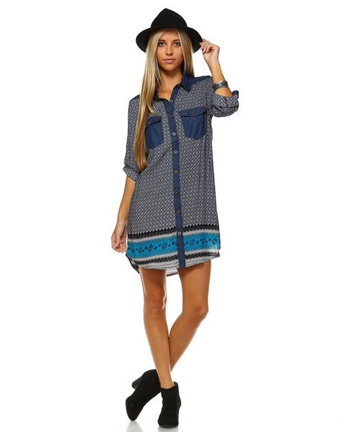 MIX PRINT CASUAL DRESS - orangeshine.com