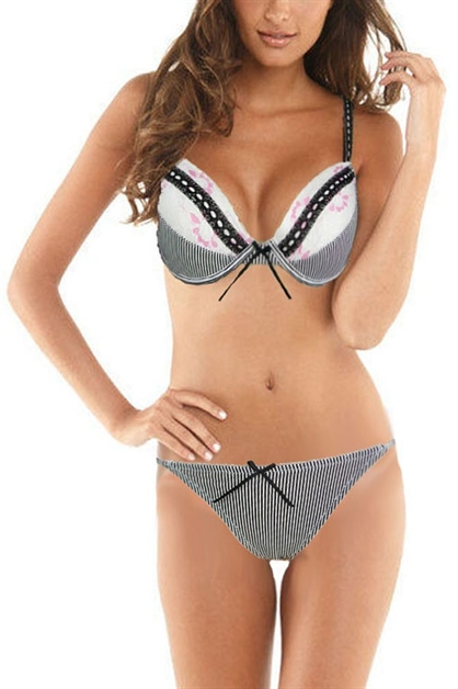 Stripes and Lace Bra and Thong - orangeshine.com