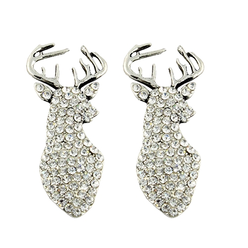 Deer Crystal Stud Earrings  - orangeshine.com