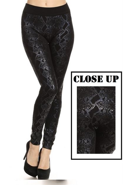 Fleece Fashion Print Leggings - orangeshine.com