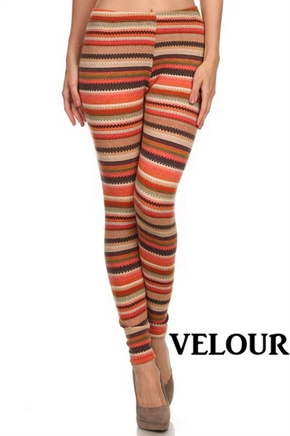 Velour Printed Leggings - orangeshine.com