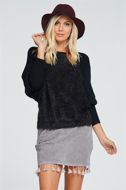 WOOL RIBBED DOLMAN SLEEVE TOP - orangeshine.com