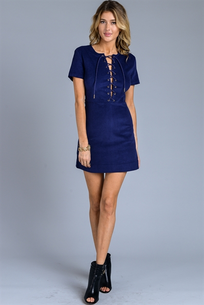 CORDUROY LACE UP S/S DRESS - orangeshine.com