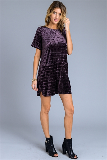 VELVET SHIFT DRESS W/ POCKETS - orangeshine.com