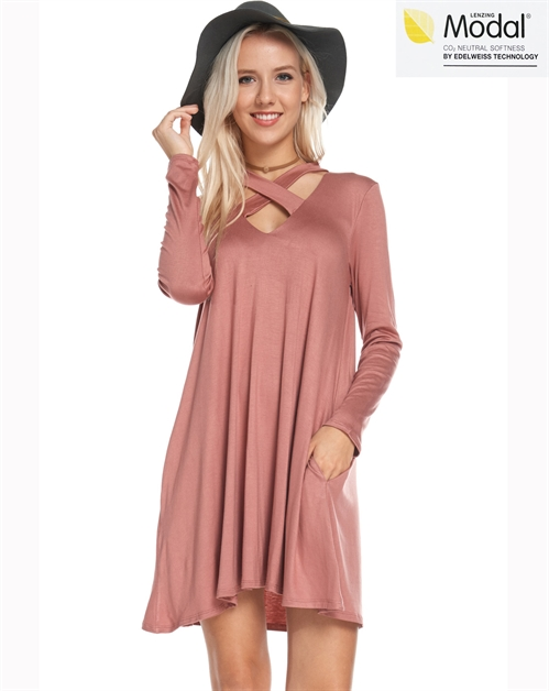 Rayon Modal Cross Neckline Dress - orangeshine.com