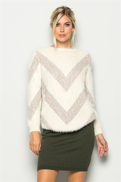 WOOL CHEVRON-PATTERNED SWEATER - orangeshine.com