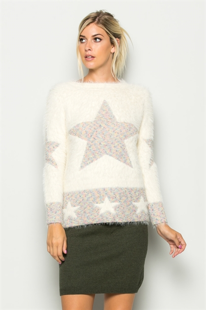 WOOL-BLEND STARRED SWEATER - orangeshine.com