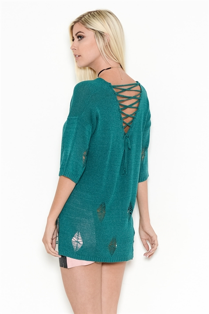 DISTRESSED LACE-UP BACK KNIT - orangeshine.com