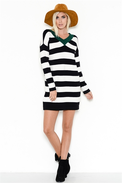COLORBLOCK STRIPED SWEATER - orangeshine.com