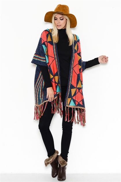 MULTICOLOR FRINGED OPEN PONCHO - orangeshine.com