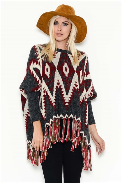 TRIBAL-PRINT TUNIC SWEATER - orangeshine.com