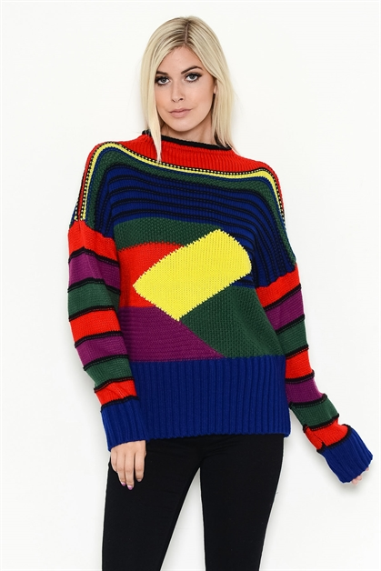 MULTI-COLOR STRIPED SWEATER - orangeshine.com