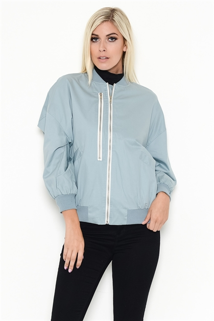 CLASSIC ZIPPERED BOMBER JACKET - orangeshine.com