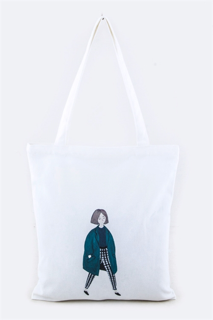 Lady Print Fashion Tote - orangeshine.com