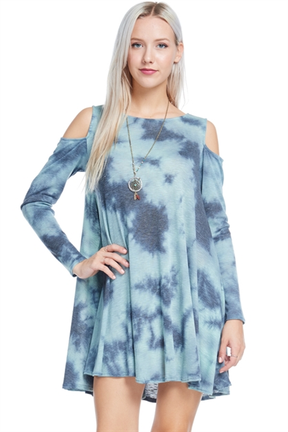 COLD SHOULDER RIB TIE-DYE POCK - orangeshine.com