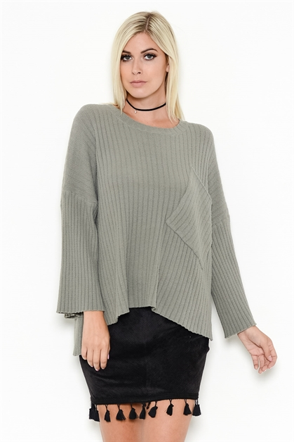 RIBBED BIG POCKET SWEATER - orangeshine.com