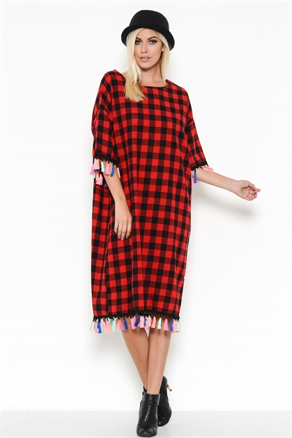 CHECKERED TASSELED SHIRT DRESS - orangeshine.com