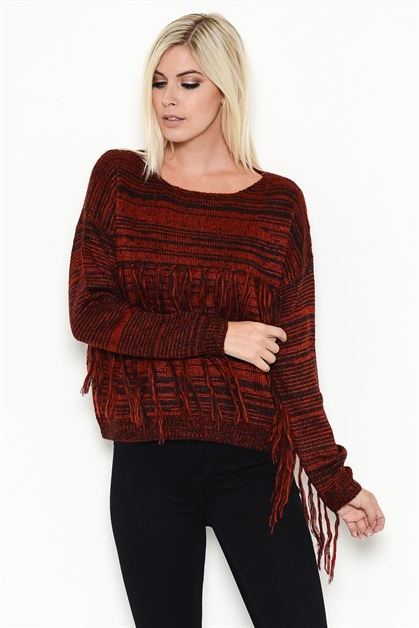 STRIPED FRINGED SWEATER - orangeshine.com