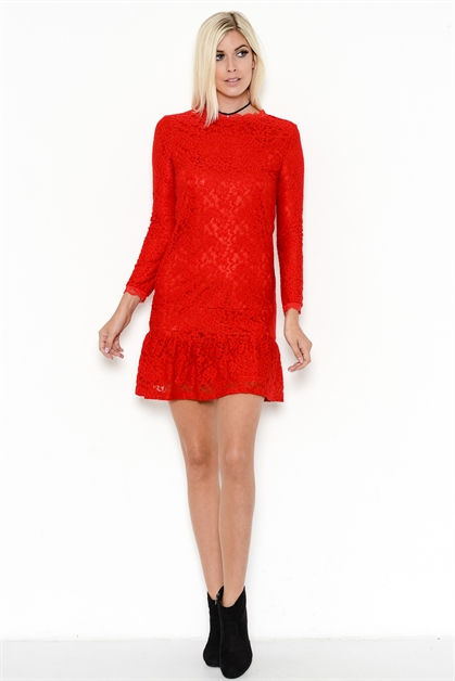 FLORAL LACE MINI DRESS - orangeshine.com