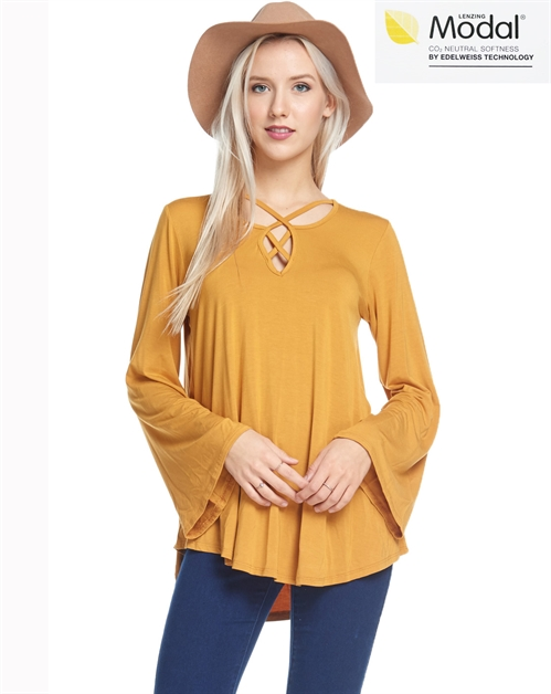 Cross Neckline dolman sleeve top - orangeshine.com