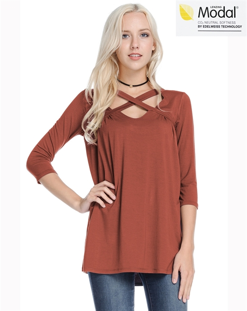 Rayon Modal Cross Neckline Top - orangeshine.com