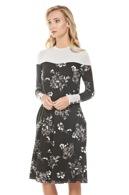 floral pocket dress with btn - orangeshine.com