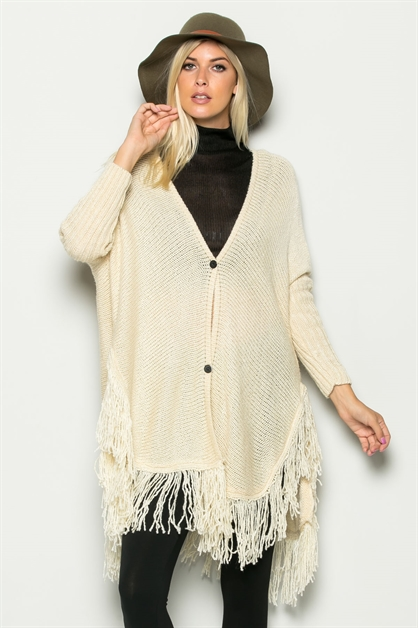 FRINGED BUTTON-UP CARDIGAN - orangeshine.com