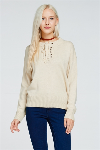 LACE-UP RIBBED SWEATER - orangeshine.com