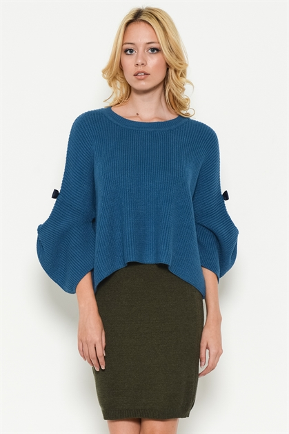 PULL OVER RIBBED SWEATER TOP - orangeshine.com