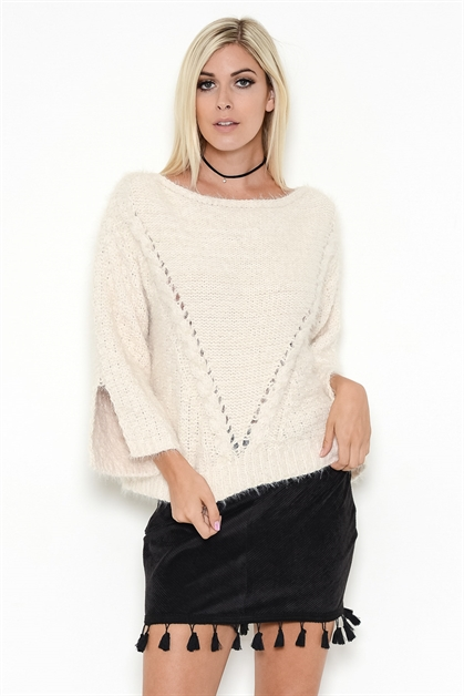 RIBBED BOAT-NECK WOOL SWEATER - orangeshine.com