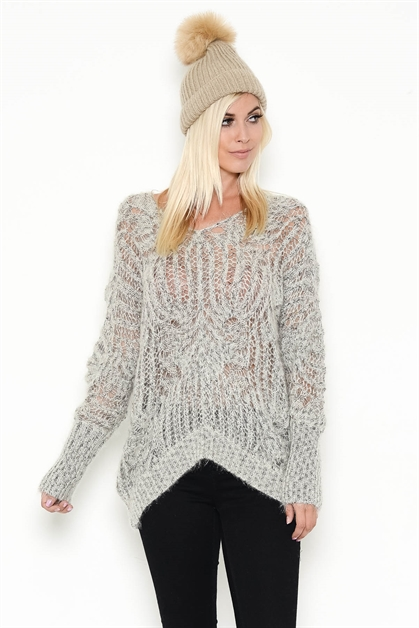 V-BACK LOOSE KNIT SWEATER - orangeshine.com